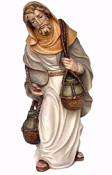 Immagine di Pastore con Brocche d' Acqua cm 28 (11,0 inch) Presepe Matteo stile orientale colori ad olio in legno Val Gardena