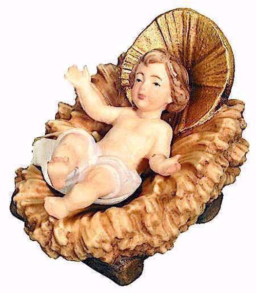 Immagine di Gesù Bambino con Culla separata cm 18 (7,1 inch) Presepe Matteo stile orientale colori ad olio in legno Val Gardena