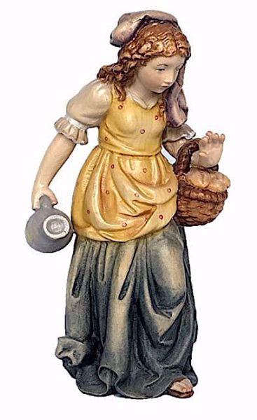 Imagen de Pastora con Cesta cm 18 (7,1 inch) Belén Matteo estilo oriental colores al óleo en madera Val Gardena