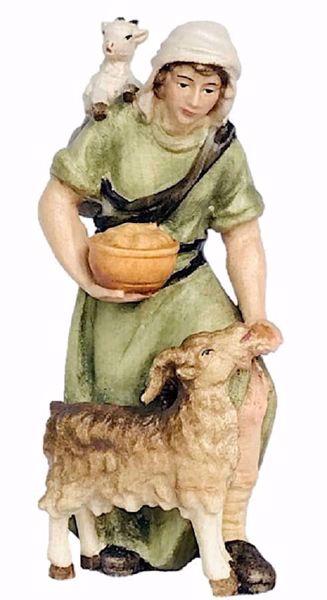 Imagen de Pastor cm 18 (7,1 inch) Belén Matteo estilo oriental colores al óleo en madera Val Gardena