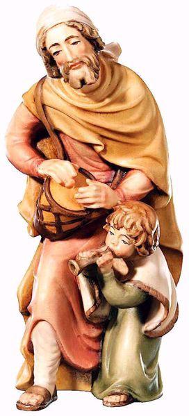 Immagine di Pastore con Bambino cm 18 (7,1 inch) Presepe Matteo stile orientale colori ad olio in legno Val Gardena