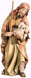 Picture of Shepherd with Sheep cm 18 (7,1 inch) Matteo Nativity Scene Oriental style oil colours Val Gardena wood