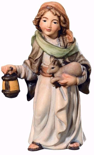 Imagen de Pastor con Linterna y Conejo cm 18 (7,1 inch) Belén Matteo estilo oriental colores al óleo en madera Val Gardena