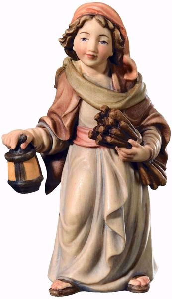 Imagen de Pastor con Trigo y Linterna cm 18 (7,1 inch) Belén Matteo estilo oriental colores al óleo en madera Val Gardena