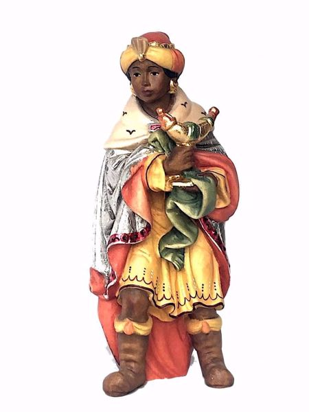 Immagine di Baldassarre Re Magio Moro in piedi cm 18 (7,1 inch) Presepe Matteo stile orientale colori ad olio in legno Val Gardena