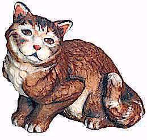 Immagine di Gatto Seduto cm 10 (3,9 inch) Presepe Matteo stile orientale colori ad olio in legno Val Gardena