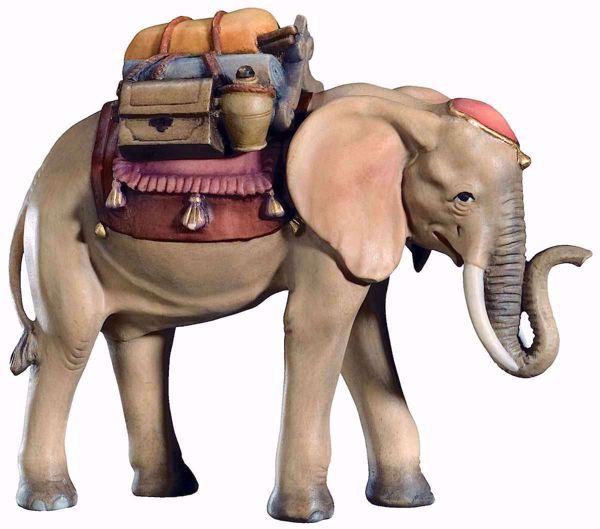 Imagen de Elefante con Silla cm 10 (3,9 inch) Belén Matteo estilo oriental colores al óleo en madera Val Gardena