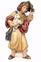 Immagine di Pastore con Pecora e Cappello cm 10 (3,9 inch) Presepe Matteo stile orientale colori ad olio in legno Val Gardena
