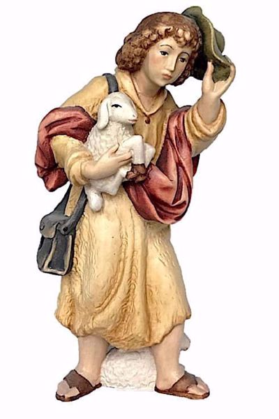 Imagen de Pastor con Oveja y Sombrero cm 10 (3,9 inch) Belén Matteo estilo oriental colores al óleo en madera Val Gardena