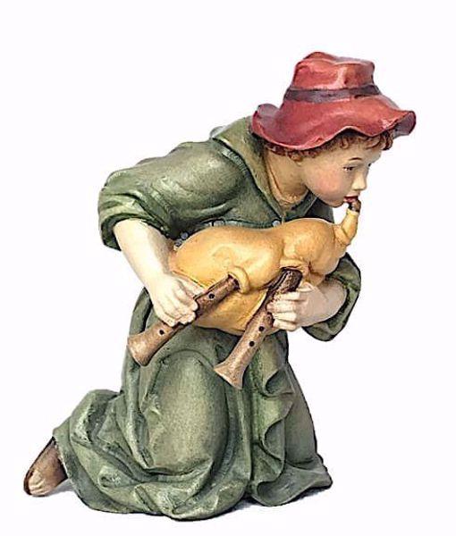 Immagine di Pastore in ginocchio con Cornamusa cm 10 (3,9 inch) Presepe Matteo stile orientale colori ad olio in legno Val Gardena