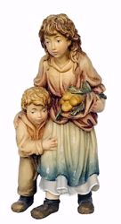 Immagine di Pastorella con Bambino cm 10 (3,9 inch) Presepe Matteo stile orientale colori ad olio in legno Val Gardena