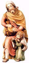 Immagine di Pastore con Bambino cm 10 (3,9 inch) Presepe Matteo stile orientale colori ad olio in legno Val Gardena