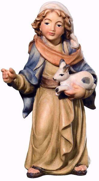 Imagen de Niño Pastor con Liebre cm 10 (3,9 inch) Belén Matteo estilo oriental colores al óleo en madera Val Gardena