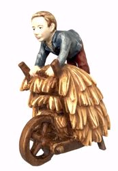 Immagine di Pastore Bambino con Carretto cm 10 (3,9 inch) Presepe Matteo stile orientale colori ad olio in legno Val Gardena