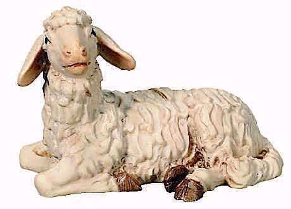 Picture of Lying Sheep cm 10 (3,9 inch) Matteo Nativity Scene Oriental style oil colours Val Gardena wood
