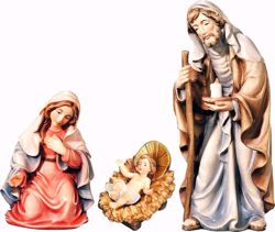 Picture of Holy Family cm 10 (3,9 inch) Matteo Nativity Scene Oriental style oil colours Val Gardena wood
