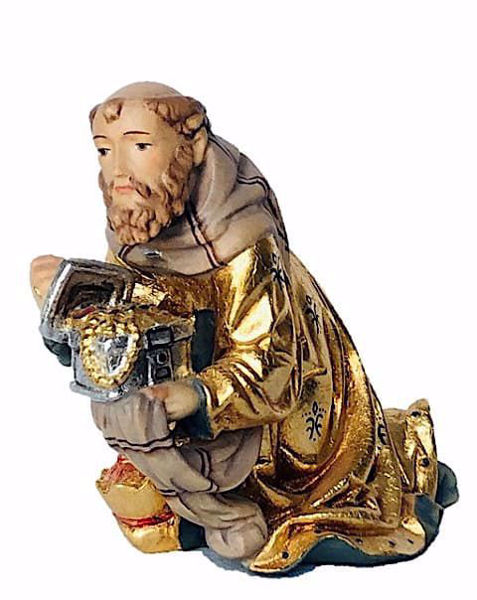 Imagen de Melchor Rey Mago arrodillado cm 10 (3,9 inch) Belén Matteo estilo oriental colores al óleo en madera Val Gardena