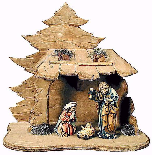 Picture of Holy Family with Stable cm 10 (3,9 inch) Matteo Nativity Scene Oriental style oil colours Val Gardena wood