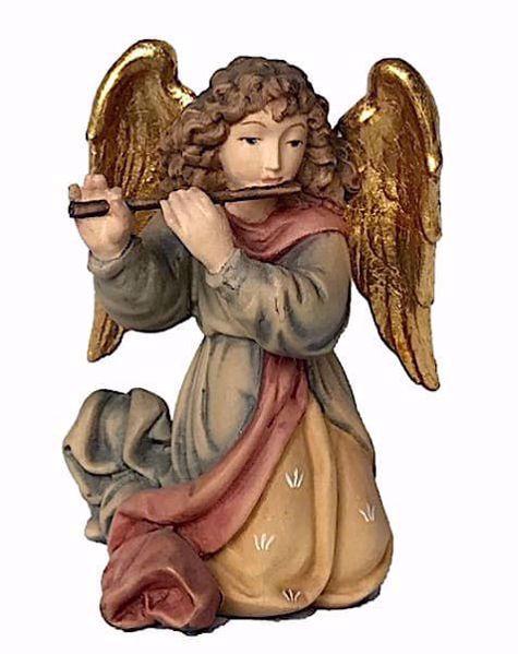 Imagen de Ángel con Flauta cm 12 (4,7 inch) Belén Matteo estilo oriental colores al óleo en madera Val Gardena