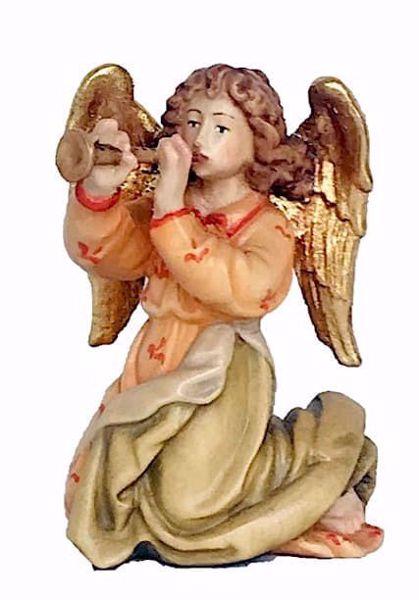 Immagine di Angelo con Tromba cm 12 (4,7 inch) Presepe Matteo stile orientale colori ad olio in legno Val Gardena