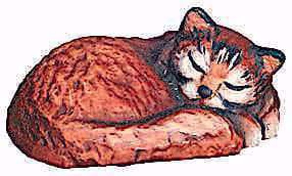 Picture of Sleeping Cat cm 12 (4,7 inch) Matteo Nativity Scene Oriental style oil colours Val Gardena wood