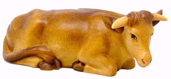 Immagine di Bue cm 12 (4,7 inch) Presepe Matteo stile orientale colori ad olio in legno Val Gardena