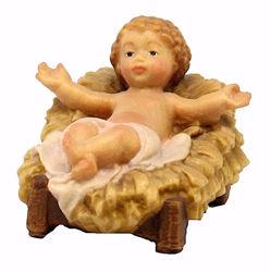 Immagine di Gesù Bambino con Culla cm 12 (4,7 inch) Presepe Matteo stile orientale colori ad olio in legno Val Gardena