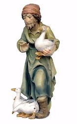 Imagen de Pastor con Patos cm 12 (4,7 inch) Belén Matteo estilo oriental colores al óleo en madera Val Gardena