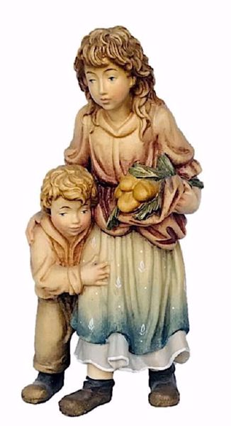 Picture of Young Shepherdess with Boy cm 12 (4,7 inch) Matteo Nativity Scene Oriental style oil colours Val Gardena wood
