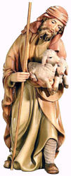 Picture of Shepherd with Sheep cm 12 (4,7 inch) Matteo Nativity Scene Oriental style oil colours Val Gardena wood