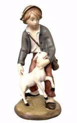 Picture of Young Shepherd with Sheep cm 12 (4,7 inch) Matteo Nativity Scene Oriental style oil colours Val Gardena wood