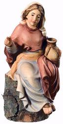 Picture of Sitting Shepherdess cm 12 (4,7 inch) Matteo Nativity Scene Oriental style oil colours Val Gardena wood