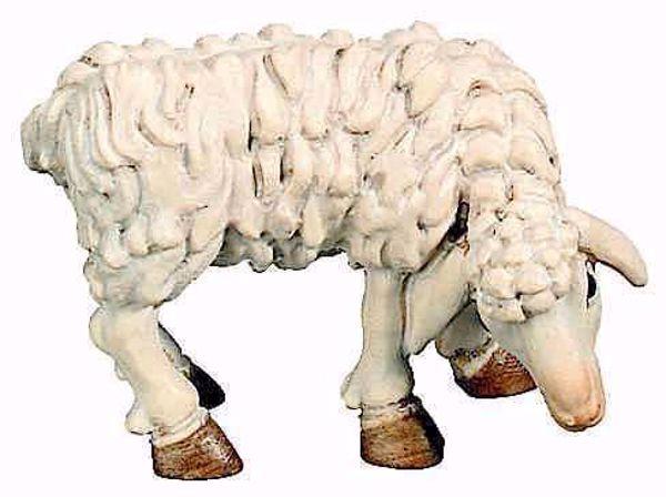 Immagine di Pecora che mangia cm 12 (4,7 inch) Presepe Matteo stile orientale colori ad olio in legno Val Gardena