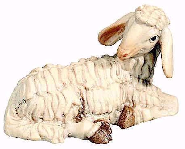 Picture of Lying Sheep cm 12 (4,7 inch) Matteo Nativity Scene Oriental style oil colours Val Gardena wood
