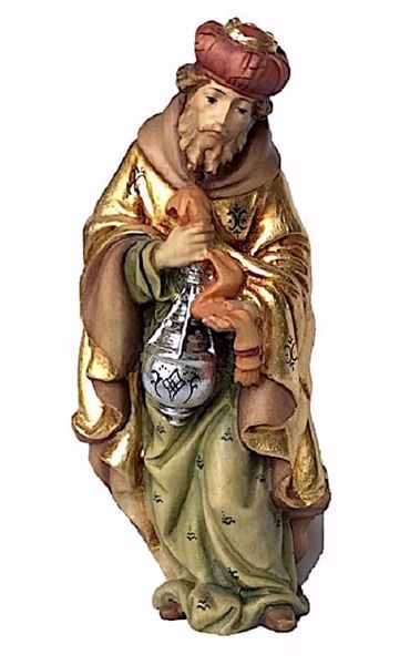 Picture of Caspar White Wise King Standing cm 12 (4,7 inch) Matteo Nativity Scene Oriental style oil colours Val Gardena wood