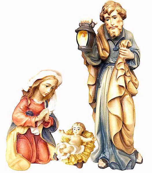 Imagen de Sagrada Familia cm 12 (4,7 inch) Belén Matteo estilo oriental colores al óleo en madera Val Gardena