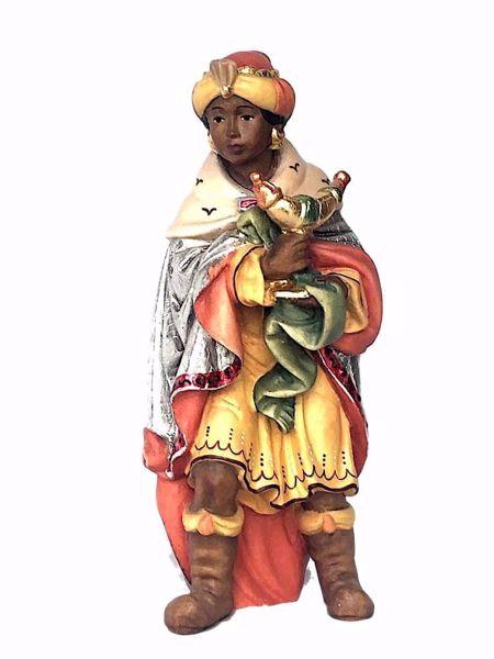 Imagen de Baltasar Rey Mago Negro de pie cm 12 (4,7 inch) Belén Matteo estilo oriental colores al óleo en madera Val Gardena