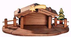 Immagine di Capanna cm 10 (3,9 inch) Presepe Aurora Baby colori ad olio in legno Val Gardena con calamita