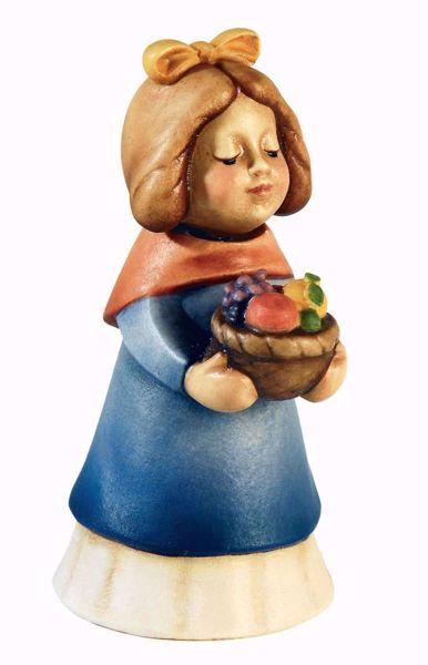 Imagen de Pastora con Cesta de Fruta cm 10 (3,9 inch) Belén Aurora colores al óleo en madera Val Gardena con imán
