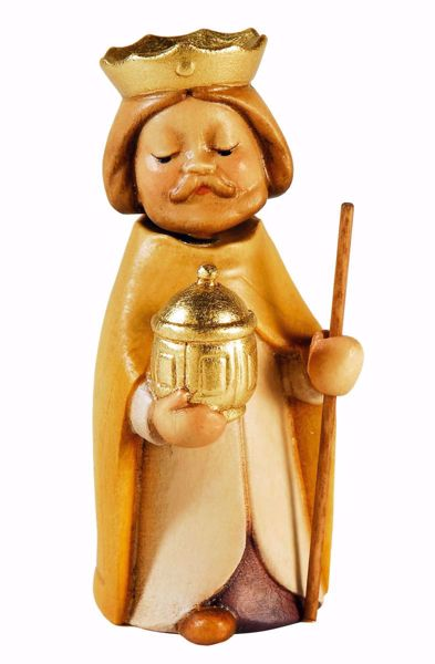 Picture of Caspar White Wise King cm 10 (3,9 inch) Aurora Baby Nativity Scene oil colours Val Gardena wood with magnet