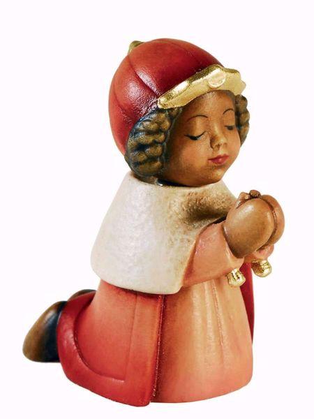 Imagen de Baltasar Rey Mago Negro cm 10 (3,9 inch) Belén Aurora colores al óleo en madera Val Gardena con imán