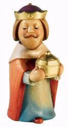Picture of Melchior Wise King Kneeling cm 10 (3,9 inch) Aurora Baby Nativity Scene oil colours Val Gardena wood with magnet