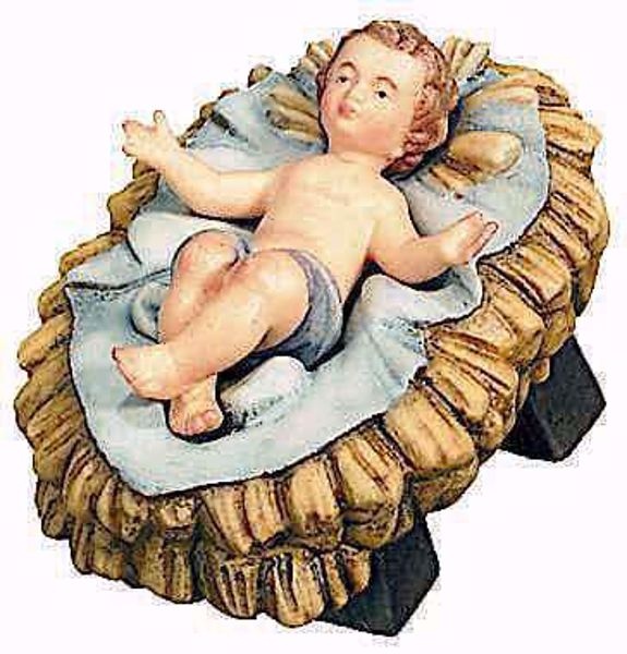Picture of Infant Jesus with separate Cradle cm 6 (2,4 inch) Raffaello Nativity Scene traditional style oil colours Val Gardena wood