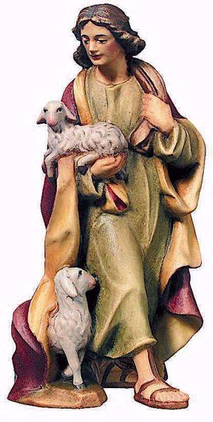 Immagine di Pastore con Pecora cm 6 (2,4 inch) Presepe Raffaello stile classico colori ad olio in legno Val Gardena