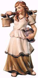 Imagen de Pastora con Jarras de Agua cm 6 (2,4 inch) Belén Raffaello estilo clásico colores al óleo en madera Val Gardena