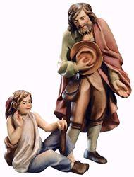 Imagen de Pastor con Chico cm 6 (2,4 inch) Belén Raffaello estilo clásico colores al óleo en madera Val Gardena