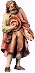 Imagen de Pastor con Sombrero cm 6 (2,4 inch) Belén Raffaello estilo clásico colores al óleo en madera Val Gardena