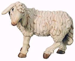 Imagen de Oveja de pie cm 6 (2,4 inch) Belén Raffaello estilo clásico colores al óleo en madera Val Gardena