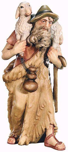 Immagine di Pastore con Pecora cm 8 (3,1 inch) Presepe Raffaello stile classico colori ad olio in legno Val Gardena
