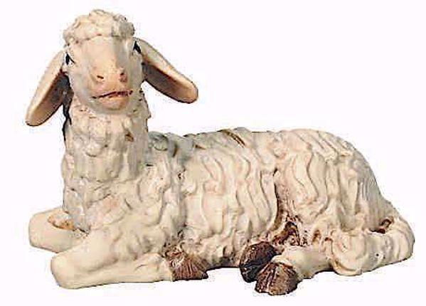 Picture of Lying Sheep cm 8 (3,1 inch) Raffaello Nativity Scene traditional style oil colours Val Gardena wood